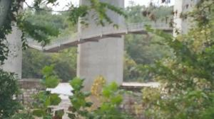 Pedestrian Suspension Bridge - awaits our bike travels over the James River